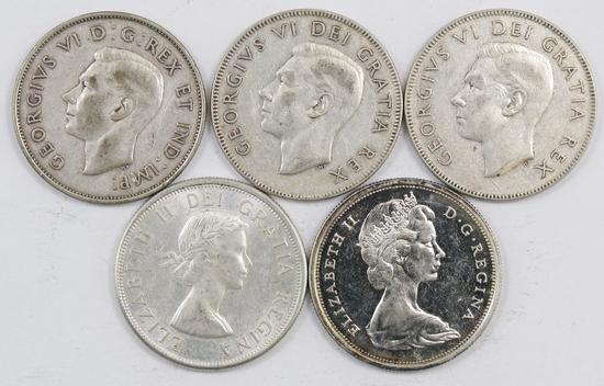 Lot of (5) Canada 50 Cents.