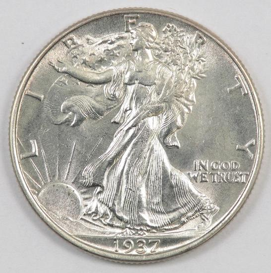 1937 P Walking Liberty Silver Half Dollar.
