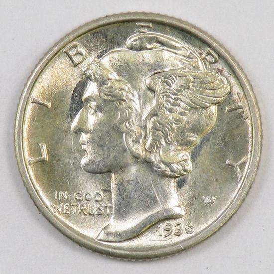 1936 P Mercury Silver Dime.