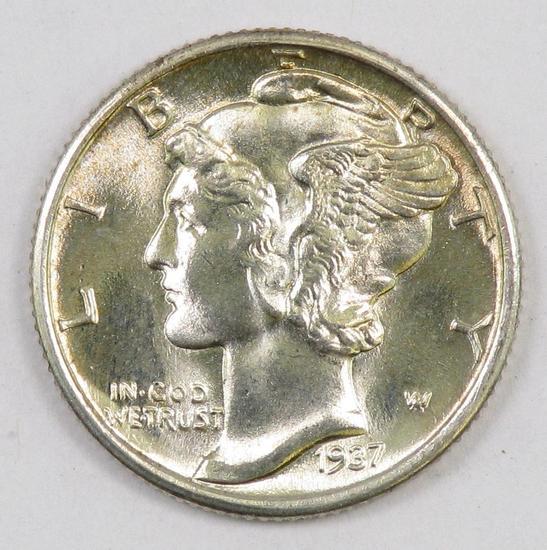 1937 P Mercury Silver Dime.