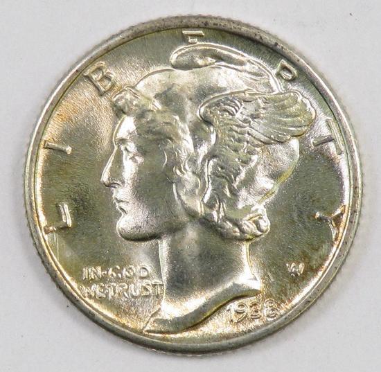 1938 P Mercury Silver Dime.