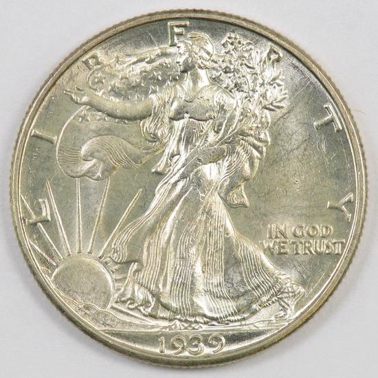 1939 D Walking Liberty Silver Half Dollar.
