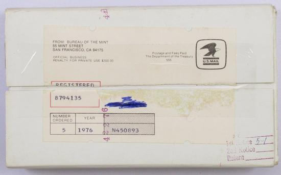 Lot of (5) 1976 U.S. Mint Sets in envelopes & box from Mint.