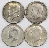 Lot of (4) 1964 P Kennedy Silver Half Dollars.