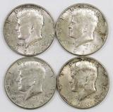 Lot of (4) 1964 D Kennedy Silver Half Dollars.