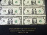 Department of the Treasury 16 Subject 1981 $1 FRN Uncut Sheet.