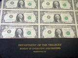 Department of the Treasury 32 Subject 1981 $1 FRN Uncut Sheet.
