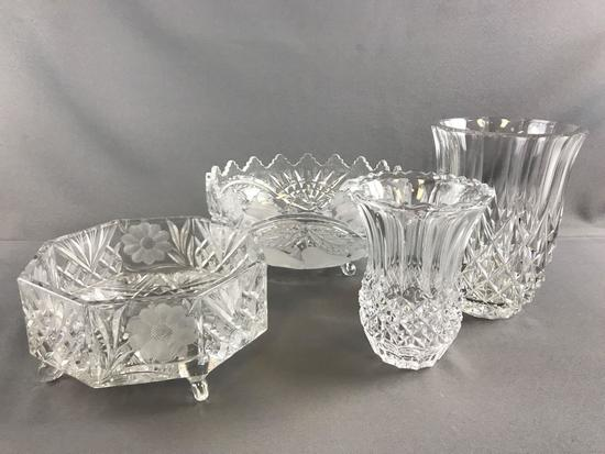 Group of 4 pressed glass bowls and vases