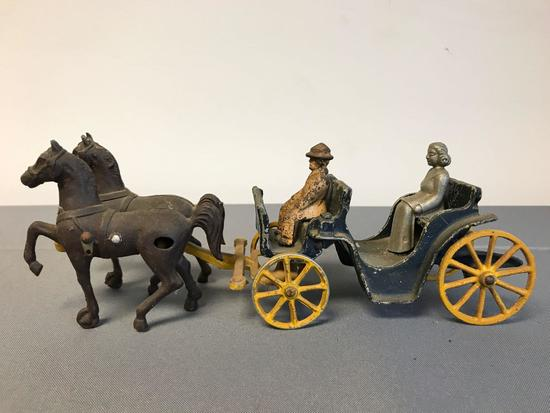 Antique Cast Iron Toy horse and carriage