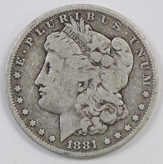 1881 P Morgan Silver Dollar.