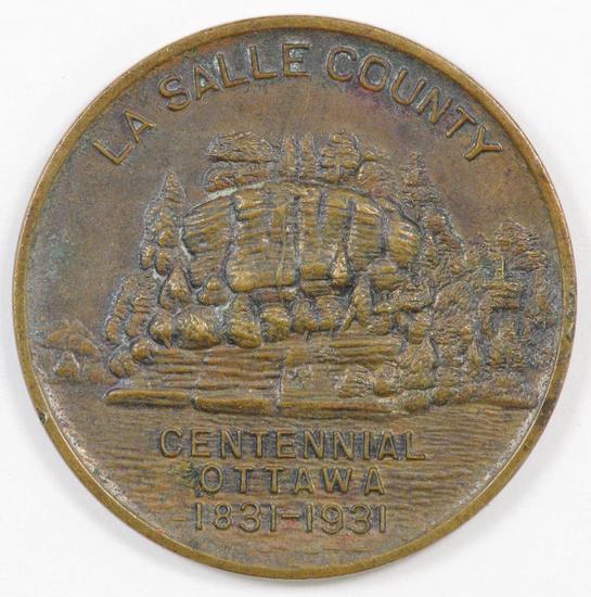 1931 La Salle County Centennial Ottawa, Illinois Token / Medal.
