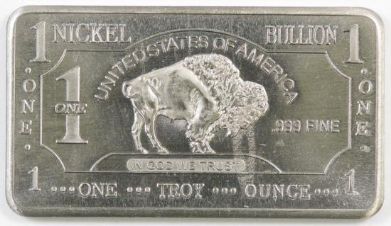 CMC Mint One Troy Ounce .999 Silver Buffalo Ingot.
