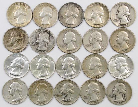 Lot of (20) Washington Silver Quarters.