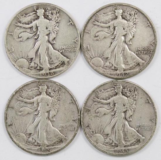 Lot of (4) Walking Liberty Silver Half Dollars.