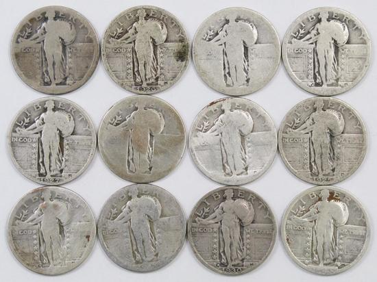 Lot of (12) Standing Liberty Silver Quarters.