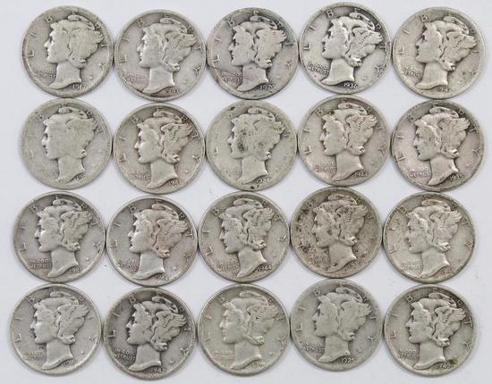 Lot of (20) Mercury Silver Dimes.