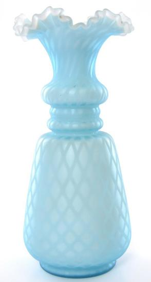Antique Blue Mother of Pearl Satin Glass Ruffled and Ribbon Edge Vase