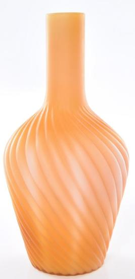 Antique Orange Ribbed Swirl Satin Glass Vase