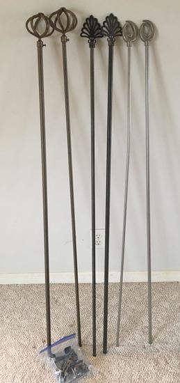 3 Curtain Rods with Hardware