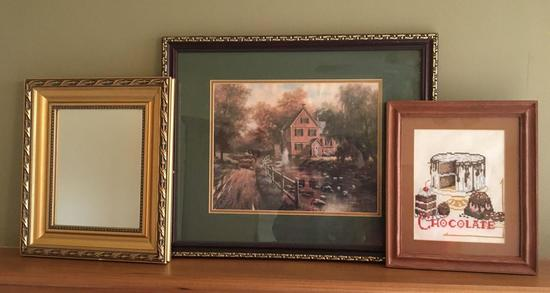 Group of 3 Needlepoint, Mirror and Old Mill Scene Pictures