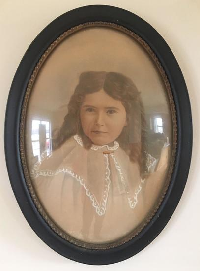 Vintage Child Print With Beveled Glass