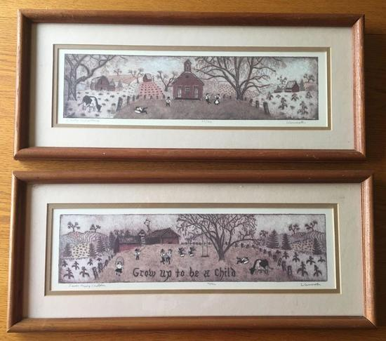 Group of 2 Signed and Numbered Country Schoolhouse and Seven Happy Children Prints