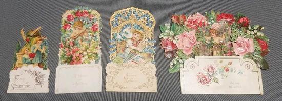 Lot of (4) Vintage Pop-up Valentine Cards.