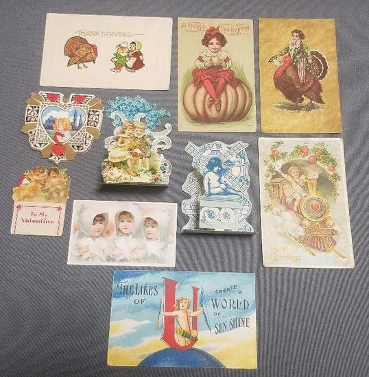 Lot of (10) Thanksgiving, Valentine & Other Antique Postcards.