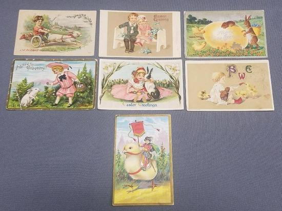 Lot of (7) Antique Easter Post Cards.
