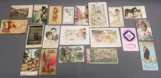 Lot of (20) Antique Postcards and Ephemera.