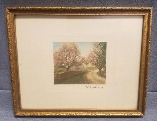 Wallace Nutting signed Colorized Lithograph