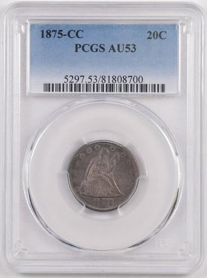 1875 CC Twenty Cent Piece (PCGS) AU53.