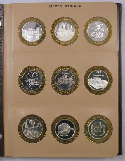Lot of (42) .999 Silver Casino Gaming Tokens in Dansco Album 7003.