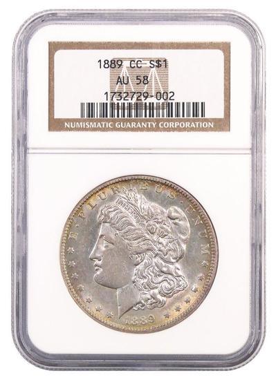 1889 CC Morgan Silver Dollar (NGC) AU58.