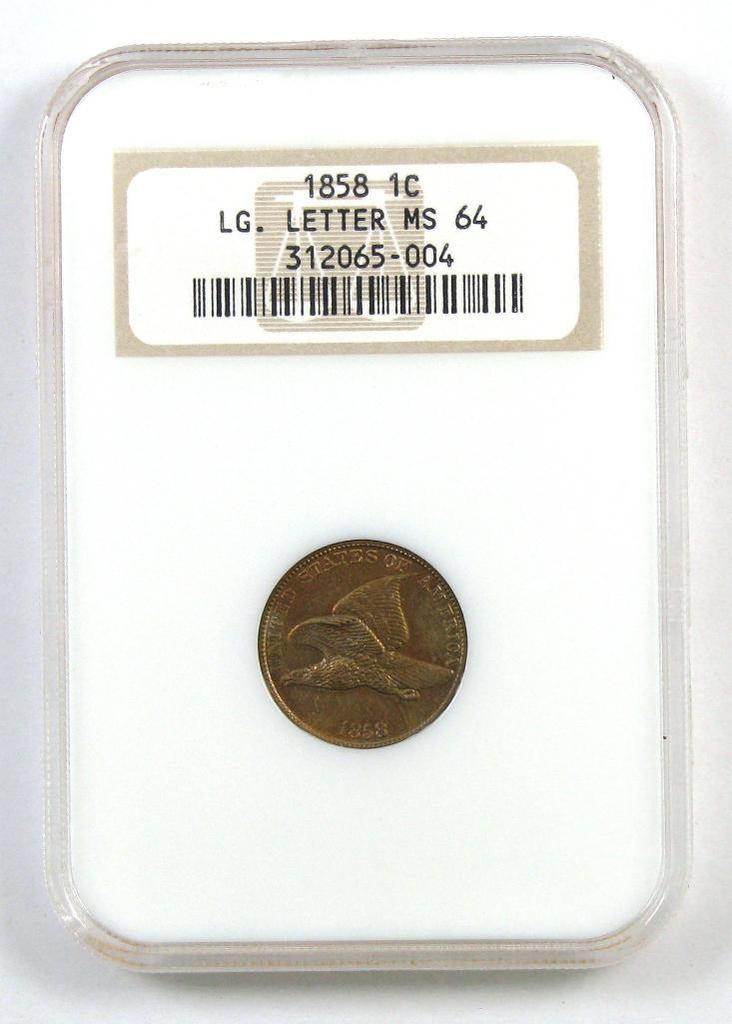 1858 LL Flying Eagle Cent (NGC) MS64.