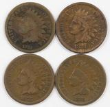 Lot of (4) Indian Head Cents.