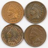 Lot of (4) Indian Head Cents with Full Liberty & Diamonds.