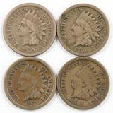 Lot of (4) CN Indian Head Cents.