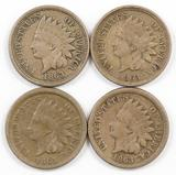 Lot of (4) 1863 CN Indian Head Cents.