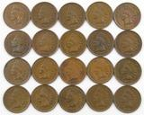 Lot of (20) Indian Head Cents with Full Liberty.