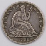1859 P Seated Liberty Half Dollar.