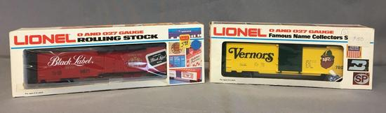 Group of 2 Lionel Vernors Boxcar and Carlings Black Label Reefer