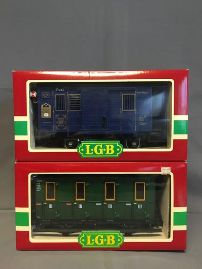 Group of 2 LGB 1985 Jahreswagen and 3050 Passenger Coach Cars