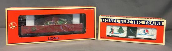 Group of 2 Lionel Christmas Gondola and 1996 Holiday Boxcars