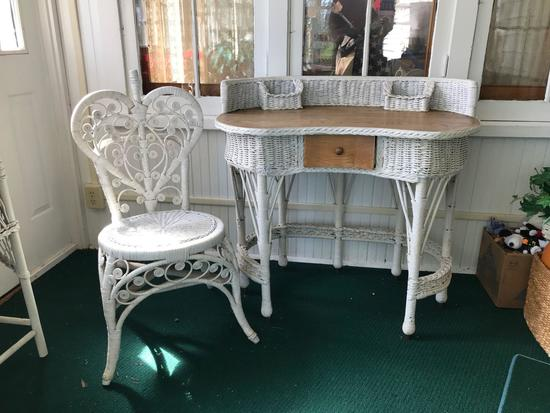 Antique wicker desk with oak top and chair