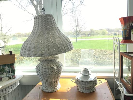 Group of two wicker lamps