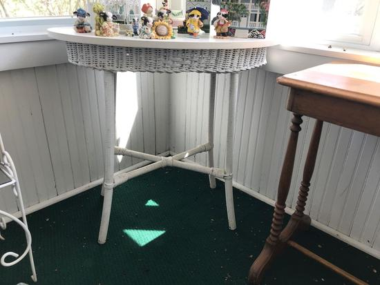 Antique Wicker table with wood top