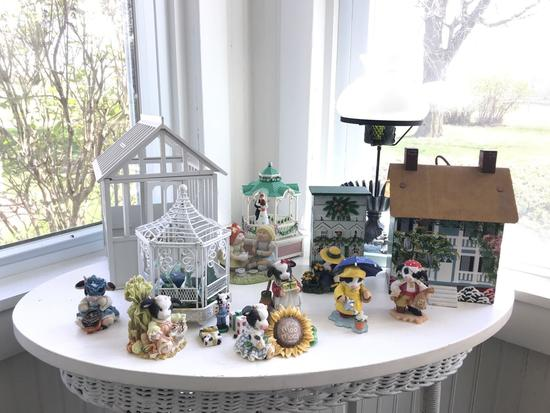 Group of miscellaneous decor and figurines