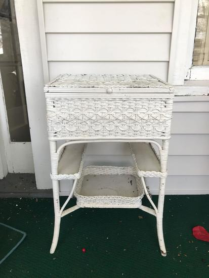 Antique wicker side table with Cabinet
