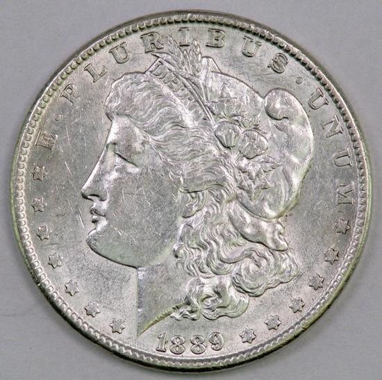 1889 P Morgan Silver Dollar.